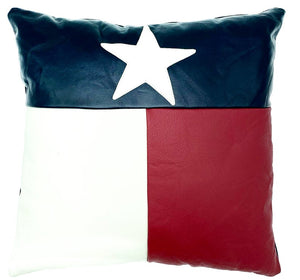 NOORA Lambskin leather Texas Flag and Political,Pillow cover Black,Red & white, Square Leather Pillow Cover Housewarming Gift,Halloween PS79