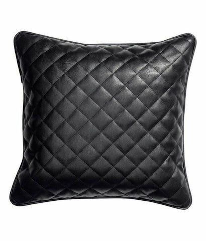 NOORA Leather Pillow Cover ,Modern Leather Cushion Cover, Housewarming Gift, Wedding Gift, BLACK Diamond Pillow Cover Square pillow, SJ2