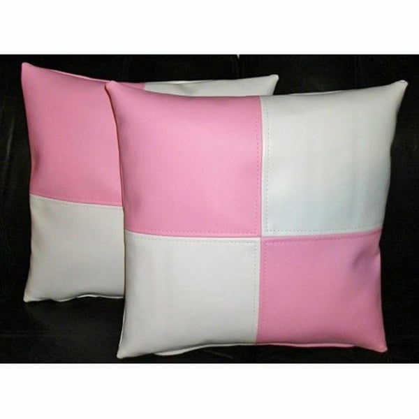 NOORA Pink & White Throw Pillows Cover For Couch, Square Textured Checkered Solid Color Leather Pillow Covers Home Decor - Pink Pulp SJ345