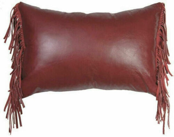 NOORA Pure leather Side Fringe pillow Cover Style Red/Blue/Black/brown/maroon/grey,Leather Cushion Ractangle Cover, Housewarming Gift PS564