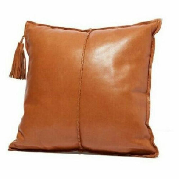 NOORA Pure leather pillow Mango Tan , Leather Cushion Square Cover, Housewarming Gift, Special for Anniversary, TAN Chess Pillow Cover SJ6