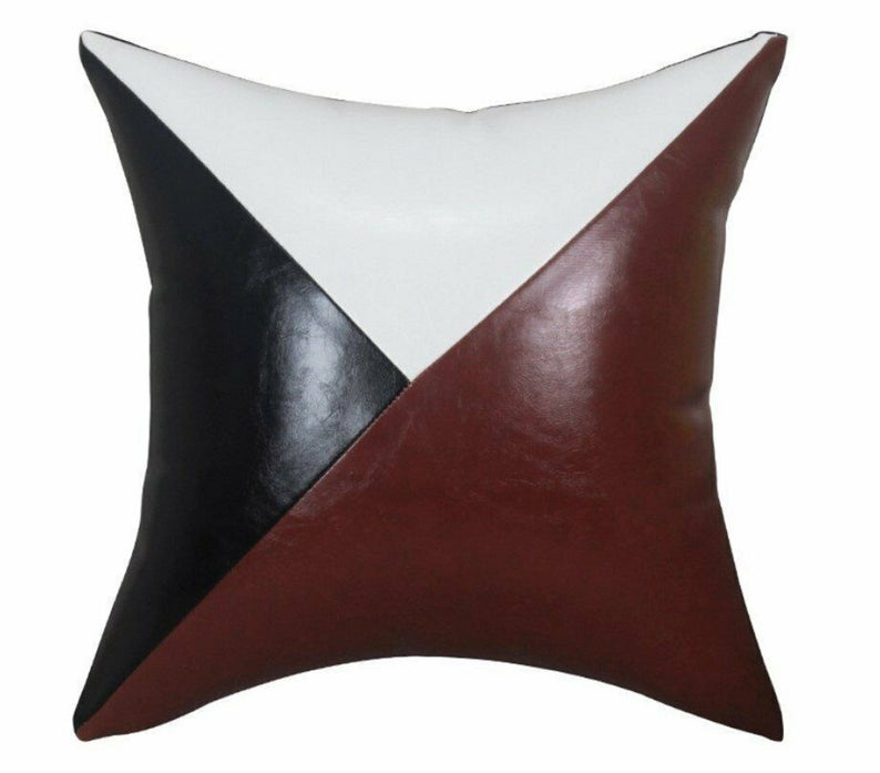 NOORA Real Leather Unique Design Handmade Square Black/White/Brown Throw Pillow Case Cushion Cover, Throw Pillow , Home Decor Pillows SJ400