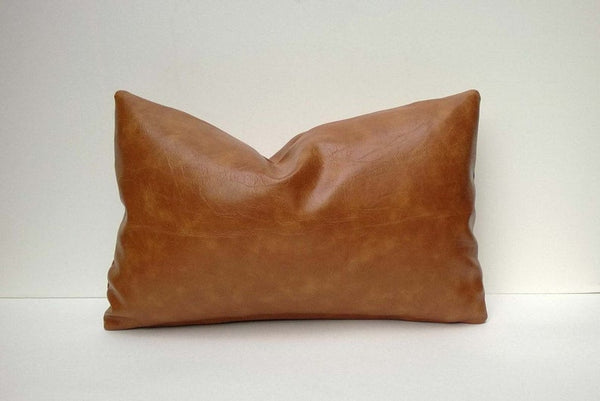 NOORA Tan Genuine Leather Cushion Cover Leather Pillow Case, inches Dark Tan Brown, Plain Rectangle Leather Pillow Cover ALL SIZE SP284