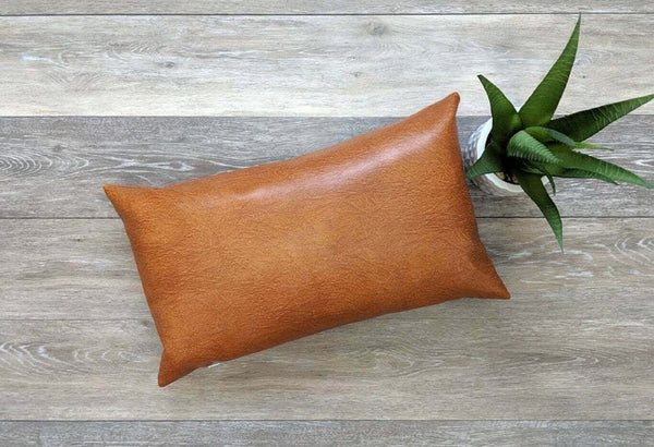 NOORA Tan Genuine Leather Cushion Cover Pillow Case, Dark Tan Brown Pillow Cover Plain Rectangle Handmade Leather Pillow Cover Housewarming