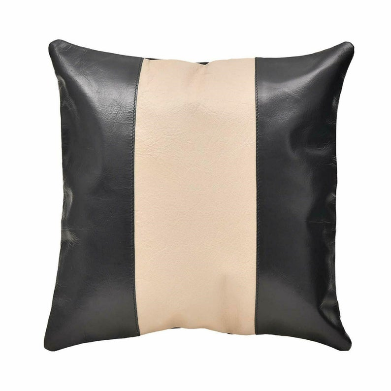 NOORA Throw Pillow,Leather,Black & Creamy Striped leather, present, housewarming gift, cushion cover, Square throw, cushion, valentine SJ402