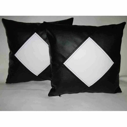 NOORA White Cushion Cover with Leather Black Square Pillow Housewarming Gift Wedding Gift, BLACK & White Chess Pillow Cover SJ114