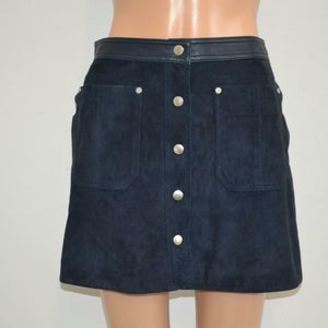 NOORA NWT Navy Blue Suede 'Soggy Skirt' Mini Skirt vintage suede skirt retro skirt suede mini skirt SJ150