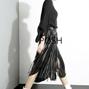 NOORA Handmade Women New Design Cropped Skirt belt Sexy Look Slim Leather Women's Leather Fringe Skirts Belt Gypsy Style Black Belt WA18