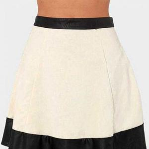 NOORA BI COLOR Stripe Above the knee Leather Skirt Outfit Handmade Leather Women's Customize Size Lambskin Leather Skirt for Halloween Party