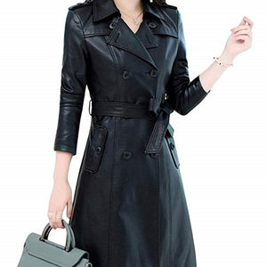 NOORA NEW Stylish Lambskin Soft Leather Women Black Genuine Leather Trench Coat, designer trench coat ,color Available in trench coat #SJ