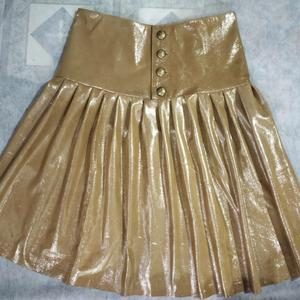 NOORA Handmade Women LambSkin Golden Hot! Flared skirt,Leather Outfit, Women's FULL Leather skirt, 100% Genuine Leather soft mini skirt SP02