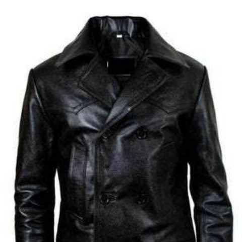 NOORA NEW Classic Men's Military Officer Uniform Leather Jacket Coat black leather jacket leather trench coat SP@#