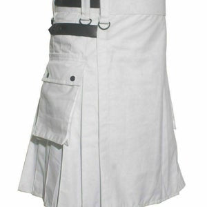 NOORA New leather BLACK strap Kilt,White Leather Utility Kilt For Active Man&Women Kilt Wedding Kilts kilted community,scottish kilts-SJ216