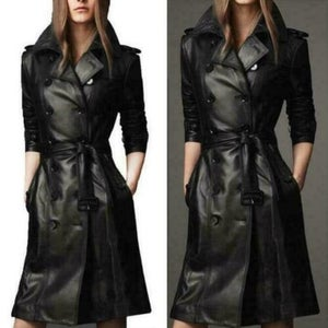 NOORA New Stylish Lambskin Soft Leather Women Black Genuine Leather Trench Coat, designer trench coat Color Available BS05