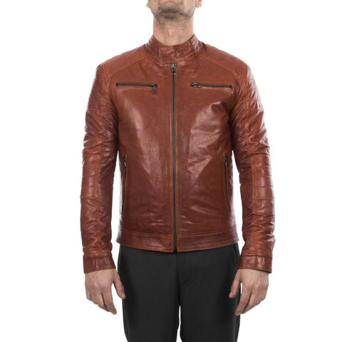 Noora Men lambskin genuine leather biker jacket slim fit cognac brown antiqued vintage look Jacket