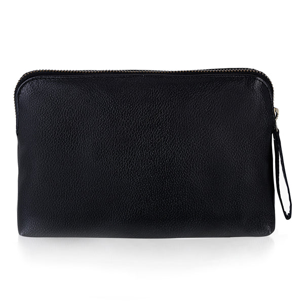 Stylish Black Leather Travel Pouch