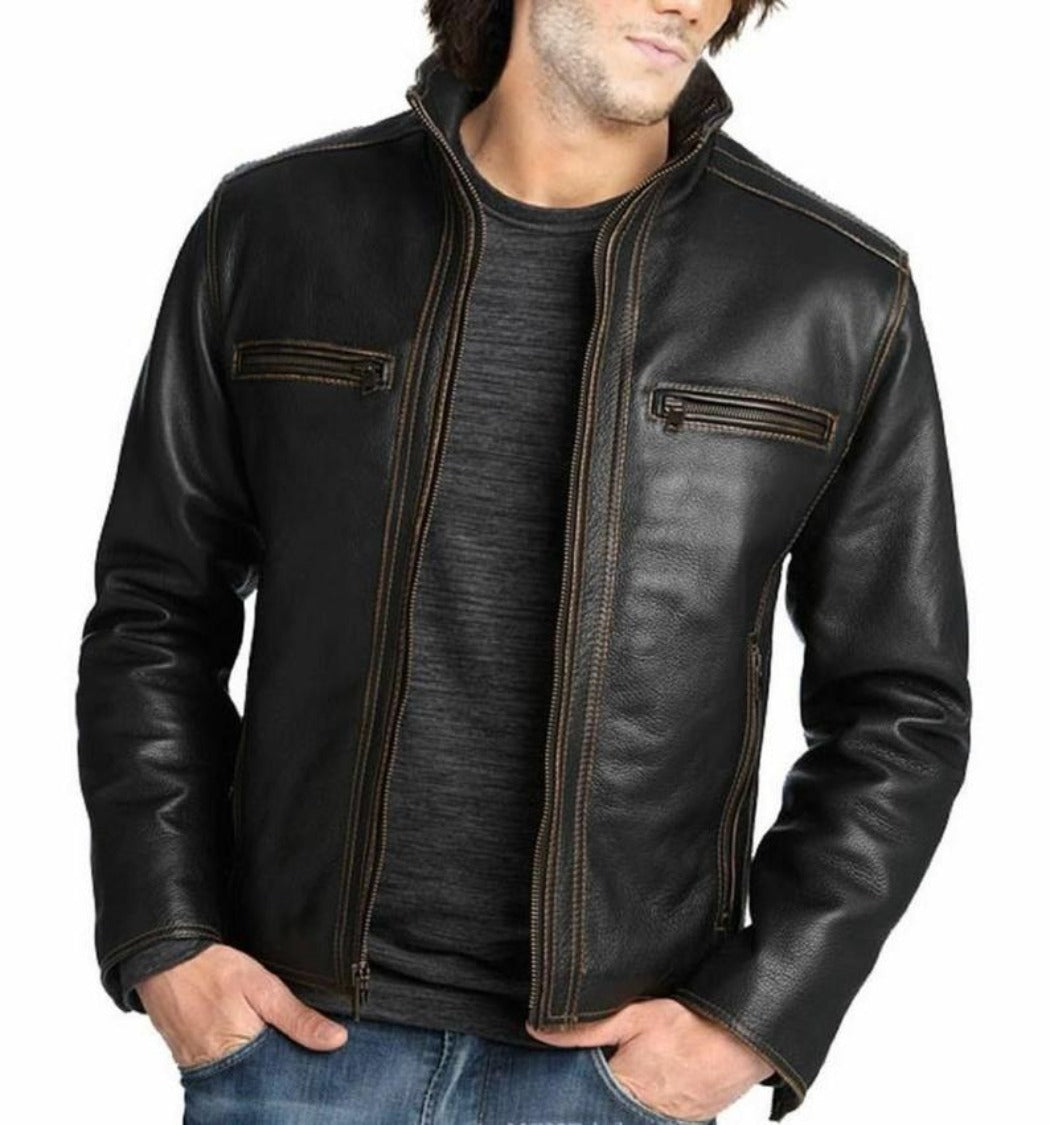 Noora Mens Customized Handcrafted Genuine Lambskin Vintage Leather Jacket Black Slim fit Motorcycle Biker Racer Retro style BS6