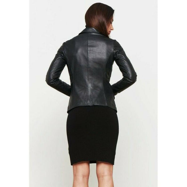 Noora Women Genuine Lambskin Leather BLAZER Jacket For MEETINGS Black Women's Lambskin Leather Blazer Jacket Stylish Three Button