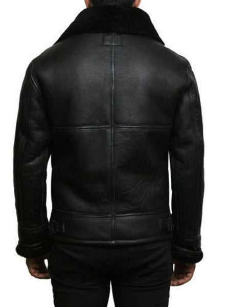 Noora New Black Lambskin Bomber Jacket Fridge Leather Casual Jacket Winter Style Jacket SJ97