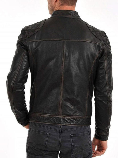 Noora Men's leather jacket black leather biker jacket, premium quality Customized Handcrafted Biker Racer Retro style SJ301