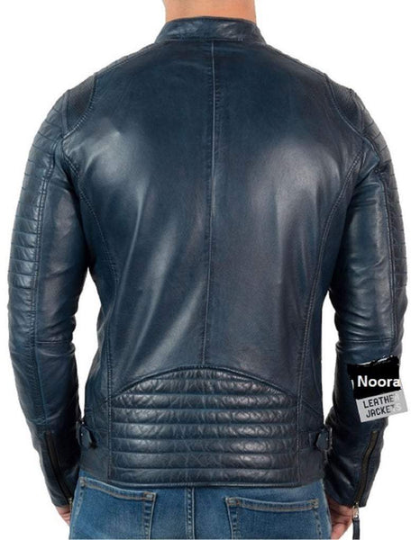 NOORA Mens Lambskin Blue jacket Vintage Leather Biker Motorcycle Jacket Fridge retro leather jacket SJ153