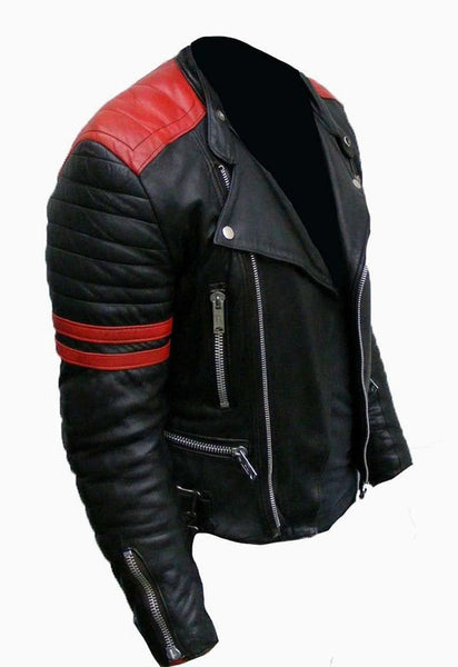 NOORA HANDMADE Brando Classic Jacket for Man Real Black & RED Leather Jacket for Man Motorbike Jacket for Men Leather Jacket Red Stripe BS14