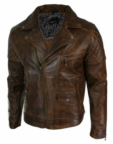 NOORA Mens Heist Antique Vintage Brown Leather Café Racer Moto Jacket - Handmade Leather Jackets - YKK Zipper BLACK Friday SP17