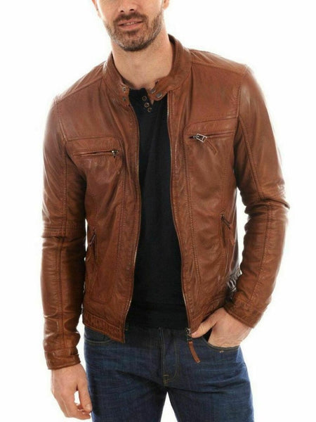 NOORA Men's Fashion Real Lambskin Brown Tan Leather Waxed Biker Motorcycle Jacket Cowboy Handmade Jacket SJ310