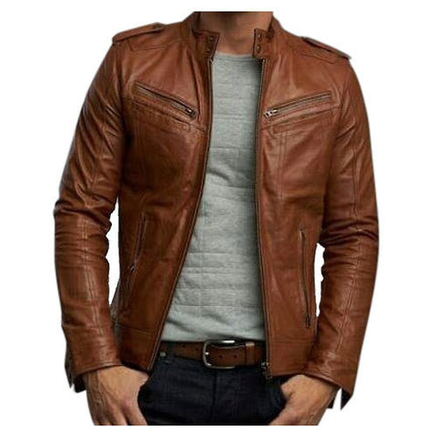 Noora Men Biker Retro Style Brown Leather Jacket