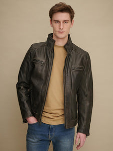Men Foster Brown Cycle Leather Jacket