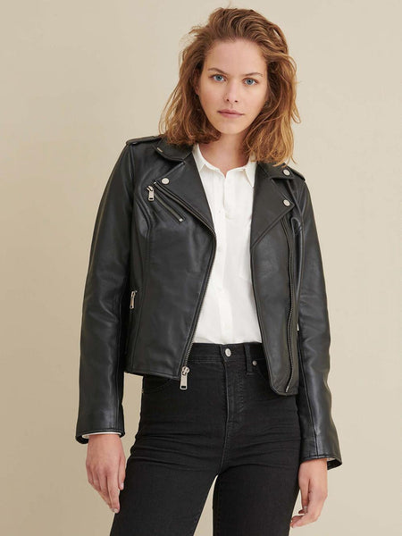 Women Madeline Asymmetrical Black Leather Jacket
