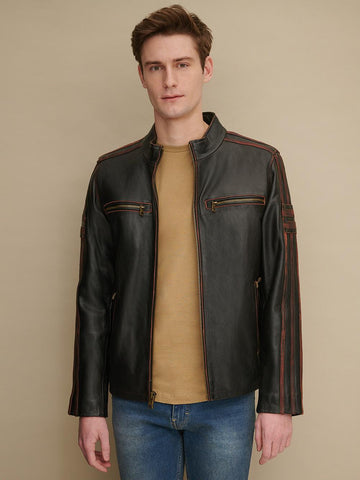 Men Black Antique Leather Cycle Jacket