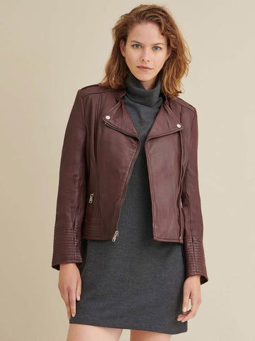 Women Asymmetrical Ox Red Leather Jacket
