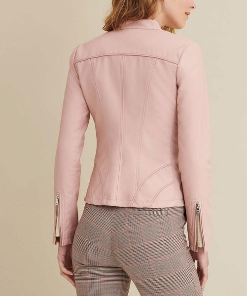 Women Faux Snap Tab Pink Leather Jacket