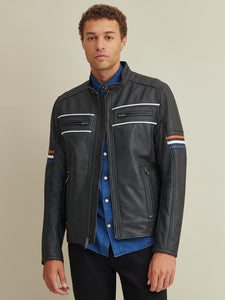 Men Tony Moto with Multi Color Stripe Leather Jacket