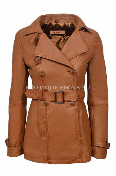 NOORA New Stylish LAMBSKIN Soft Leather Women TAN Genuine Leather Trench Coat, designer trech coat with buttons & belt trench coat SJ517