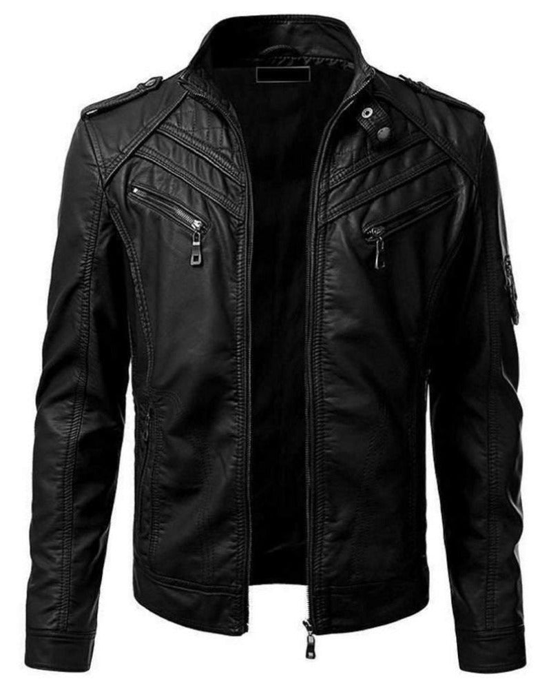 Noora Mens Real Genuine Leather Jacket Vintage Black Slim Fit Biker Cafe Races Jacket Motorcycle Jacket