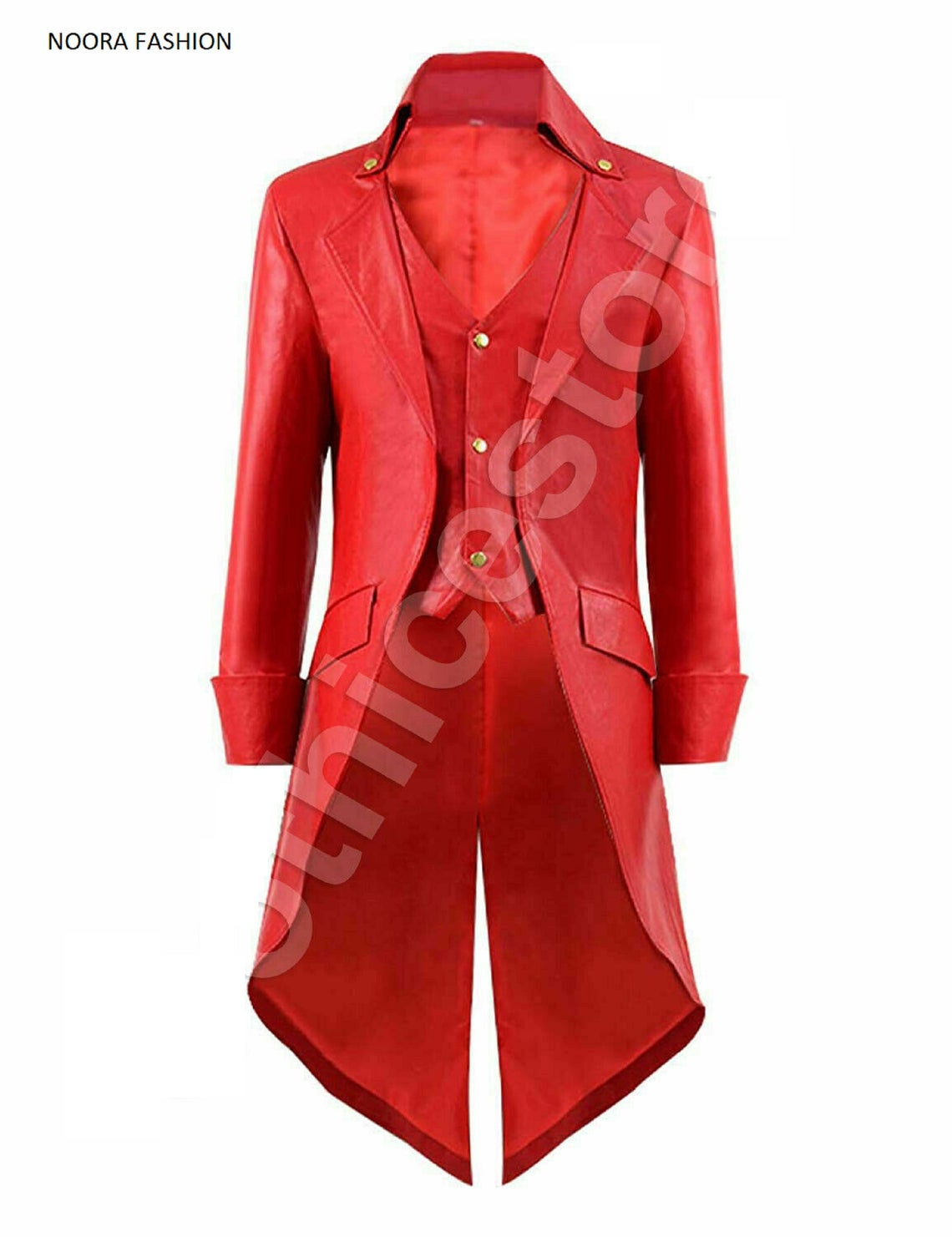 NOORA Men's STEAMPUNK Gothic Victorian Tailcoat Costum RED Genuine Leather Coat Party OverCoat,Long Coat,Classic Young Boy's Dress-SJ507