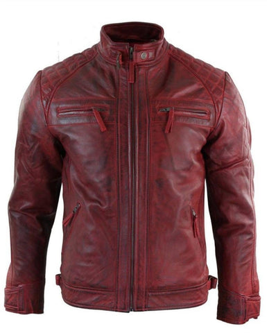 NOORA Leather Jacket  Men's Red Leather Jacket  Bomber Leather Jacket Personalized Moto Biker Jacket Bespoke Lambskin Vintage Jacket SJ