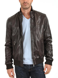 Black Stylish Casual Biker Leather Jacket  Bomber Style BS01