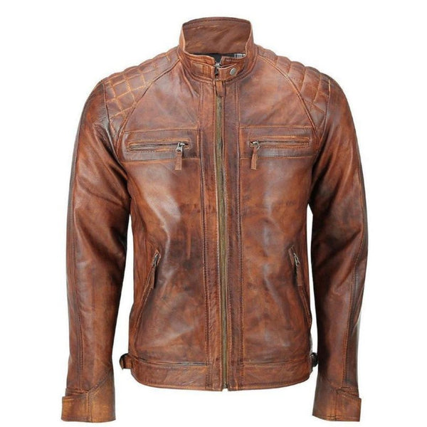 NOORA Real Brand New Men's Handmade Biker Motorcycle Café Racer Distressed Brown Lambskin Real Genuine Leather Jacket for Halloween RS264