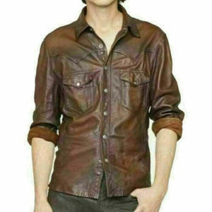 NOORA new Classic leather shirt , Brown leather, leather jacket, custom made Casual Police UNIFORM Style Slim Fit Shirt VINTAGE New SP54