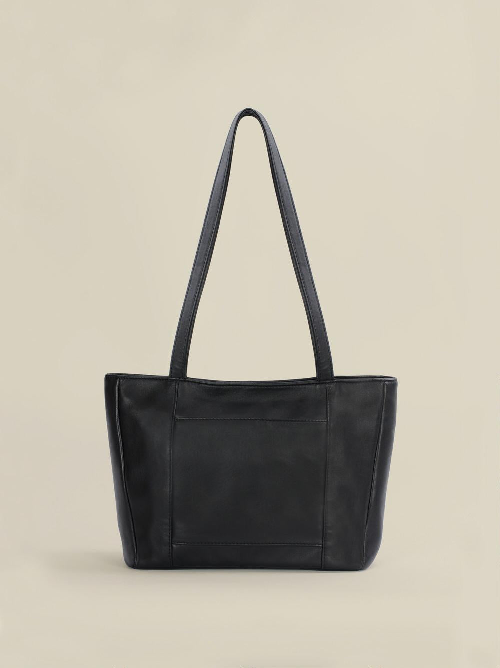 Women Simple Black Leather Handbag
