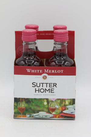 SUTTER HOME WHITE MERLOT 187ML 4PK