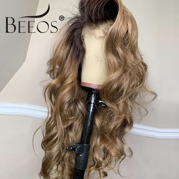 Beeos 180% 360 Lace Front Human Hair Wig Body Wave Ombre Color Pre Plucked With Baby Hair Bleached Knots Brazilian Remy Hair