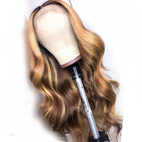 Honey Blonde Highlighted Lace Front Human Hair Wig