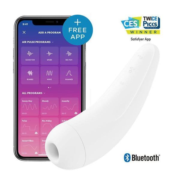 Stimulateur clitoris Satisfyer Curvy 1+ Blanc App Mobile - Plaisirs Pour Elles