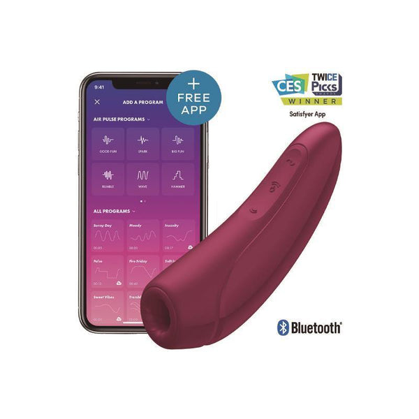 Stimulateur clitoris Satisfyer Curvy 1+ Bordeau App Mobile - Plaisirs Pour Elles