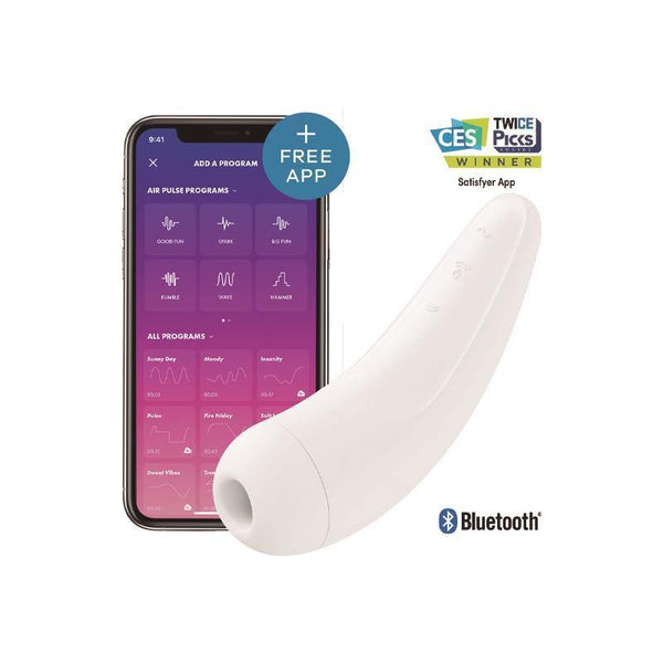 Stimulateur clitoris Satisfyer Curvy 2+ Blanc App Mobile - Plaisirs Pour Elles