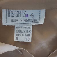 Insights - Vintage Tan High Collar Silk Blouse